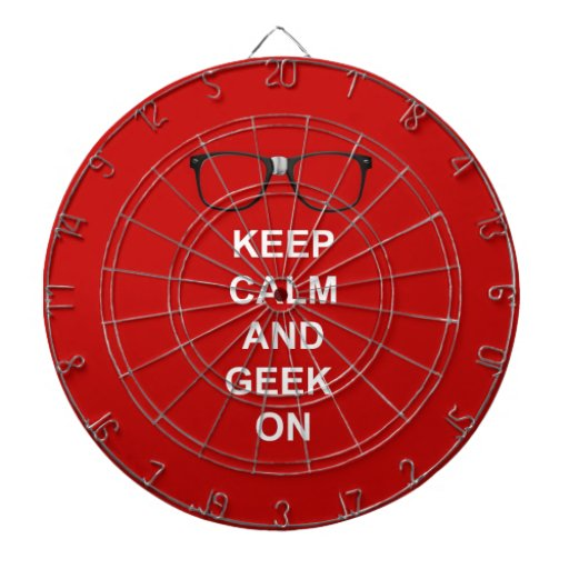 Keep Calm And Geek On Dartboard With Darts
