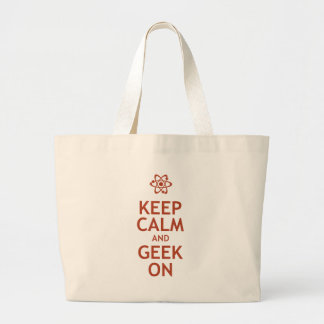 Keep Calm and Geek On Large Tote Bag