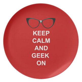 Keep Calm and Geek On Dinner Plates