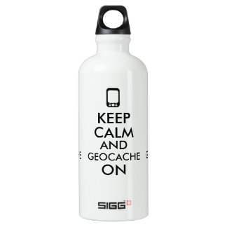 Keep Calm and Geocache On GPS Geocaching Custom Aluminum Water Bottle