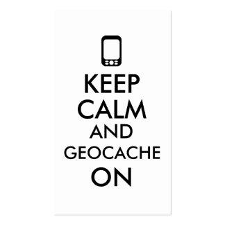 Keep Calm and Geocache On GPS Geocaching Custom Business Card Templates