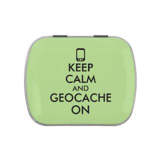 Keep Calm and Geocache On GPS Geocaching Custom Candy Tins