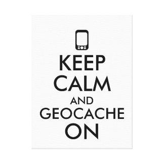 Keep Calm and Geocache On GPS Geocaching Custom Canvas Print