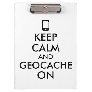 Keep Calm and Geocache On GPS Geocaching Custom Clipboard