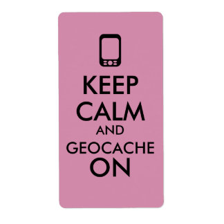 Keep Calm and Geocache On GPS Geocaching Custom Shipping Label