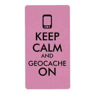 Keep Calm and Geocache On GPS Geocaching Custom Label