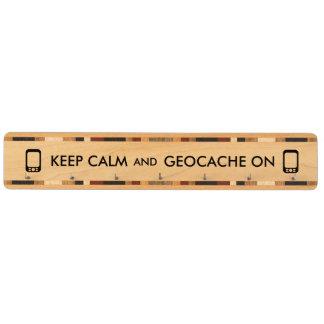 Keep Calm and Geocache On GPS Geocaching Custom Maple Key Rack