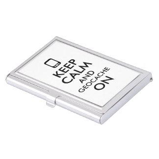 Keep Calm and Geocache On GPS Geocaching Custom Business Card Holders