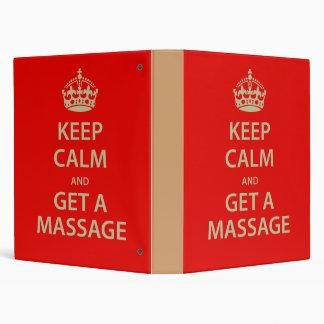 Keep Calm and Get a Massage Binder