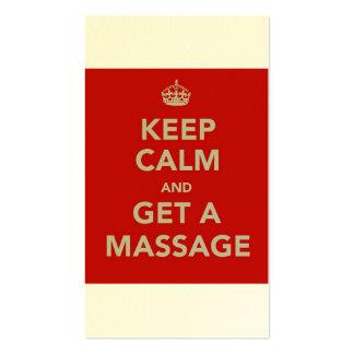keep calm and get a massage business card template