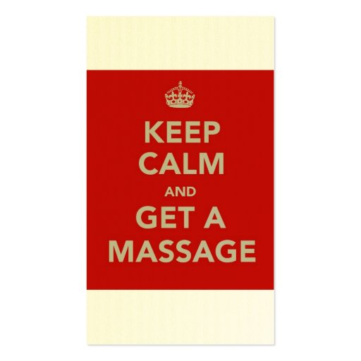 keep calm and get a massage Double-Sided standard business cards (Pack of 100) | Zazzle