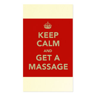 keep calm and get a massage Double-Sided standard business cards (Pack of 100)