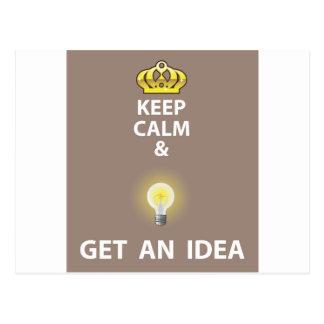 Keep Calm and Get an Idea vector Postcard
