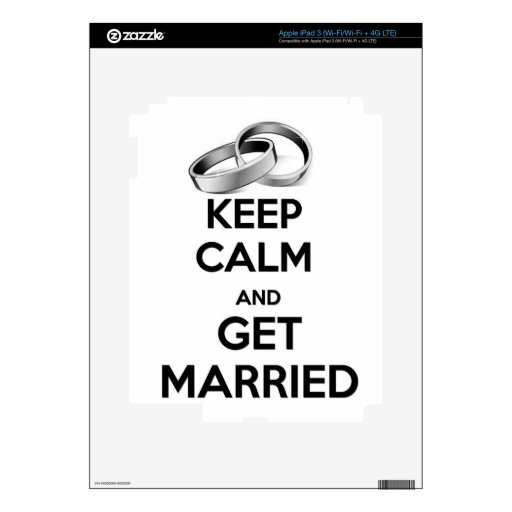 Keep Calm and Get Married Decals For iPad 3