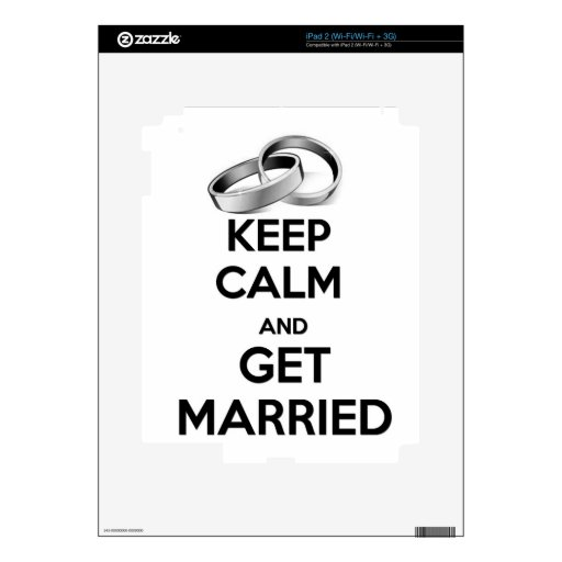 Keep Calm and Get Married iPad 2 Decals