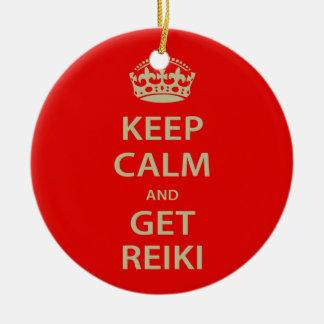 Keep Calm and Get Reiki Ceramic Ornament