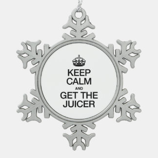 KEEP CALM AND GET THE JUICER SNOWFLAKE PEWTER CHRISTMAS ORNAMENT