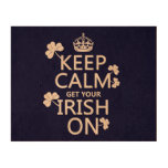 Keep Calm and get your Irish On (any bckgrd color) Cork Paper Print