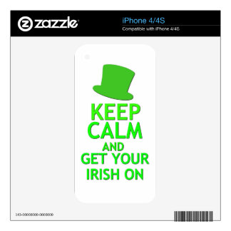 Keep Calm and Get Your Irish On Decals For iPhone 4S