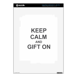 Keep Calm and Gift On gray blue black Decal For iPad 3