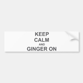 Keep Calm and Ginger On black gray blue Bumper Sticker