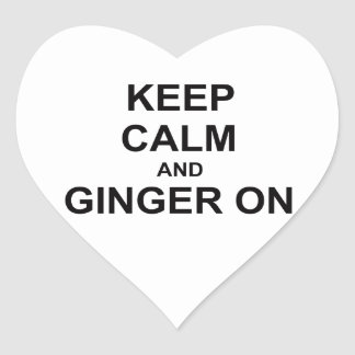 Keep Calm and Ginger On black gray blue Heart Sticker