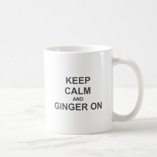 Keep Calm and Ginger On black gray blue Mug