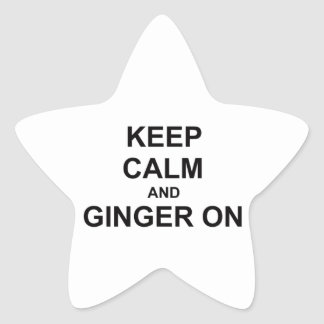Keep Calm and Ginger On black gray blue Star Sticker