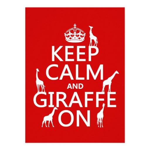 Keep Calm and Giraffe On (customize colors) Personalized Announcement