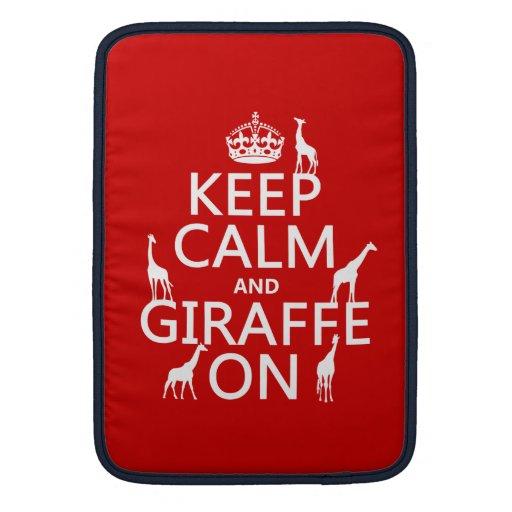 Keep Calm and Giraffe On (customize colors) MacBook Air Sleeve