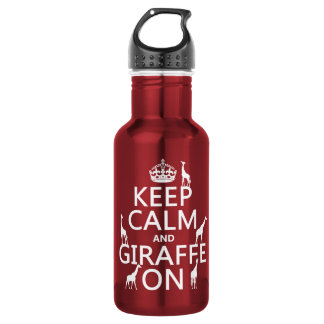 Keep Calm and Giraffe On (customize colors) Stainless Steel Water Bottle