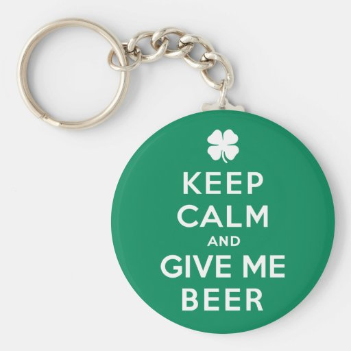 Keep Calm and Give Me Beer Basic Round Button Keychain