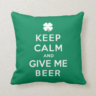 Keep Calm and Give Me Beer Throw Pillow