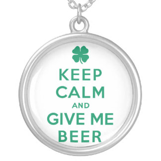 Keep Calm and Give Me Beer Silver Plated Necklace