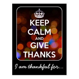 Keep Calm and Give Thanks Black Bokeh Postcard