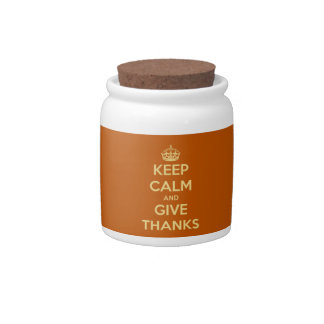 Keep Calm and Give Thanks Harvest Orange Candy Jars