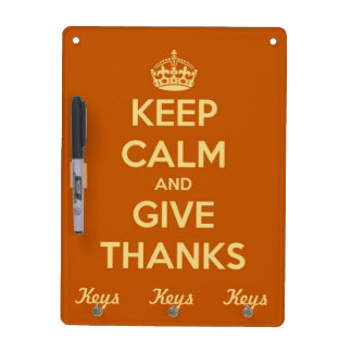 Keep Calm and Give Thanks Harvest Orange Dry-Erase Board