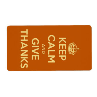 Keep Calm and Give Thanks Harvest Orange Label