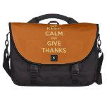 Keep Calm and Give Thanks Harvest Orange Laptop Commuter Bag