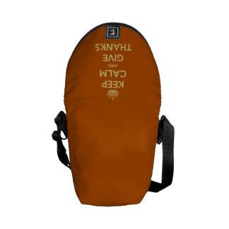 Keep Calm and Give Thanks Harvest Orange Messenger Bag
