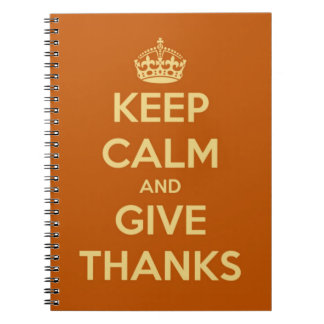 Keep Calm and Give Thanks Harvest Orange Notebook
