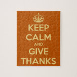 Keep Calm and Give Thanks Harvest Orange Jigsaw Puzzles