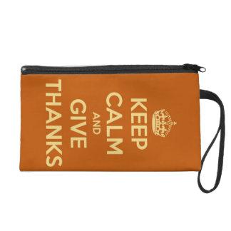 Keep Calm and Give Thanks Harvest Orange Wristlet Clutch