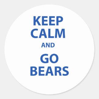 Keep Calm and Go Bears Classic Round Sticker
