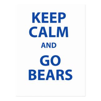 Keep Calm and Go Bears Postcard