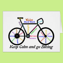 Keep Calm and go Biking, with Motivational Words Card
