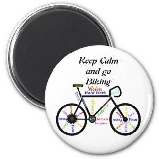 Keep Calm and go Biking, with Motivational Words Refrigerator Magnet