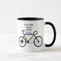 Keep Calm and go Biking, with Motivational Words Mug