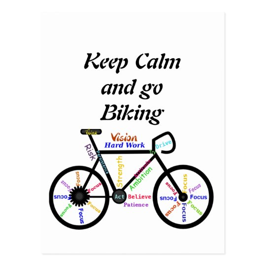 Keep Calm and go Biking, with Motivational Words Postcard