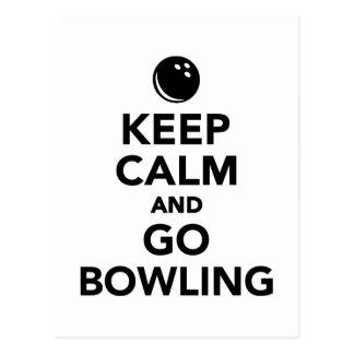 Keep calm and go bowling postcard